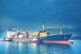 Container ship in port at container terminal - 168937361