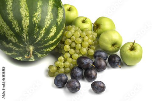 Various, assorted fruits isolated on the white background with soft shadow