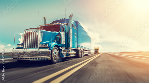 The truck runs on the highway. - 168945799