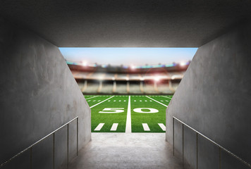 tunnel in american football stadium