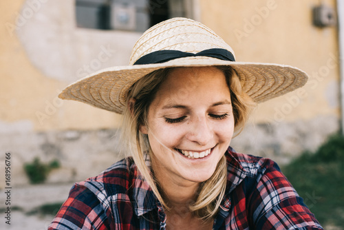 Happy woman smiling outdoor.
