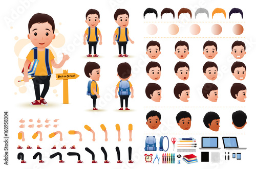 Little Boy Student Character Creation Kit Template with Different Facial Expressions, Hair Colors, Body Parts and Accessories. Vector Illustration.