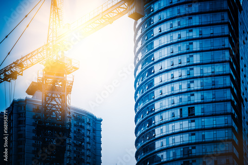 View of business building development,construction site in Dalian,China.