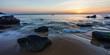 Leinwanddruck Bild - Sonnenuntergang hinter dem Meer in Quiberon in der Bretagne