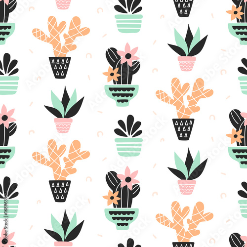 Succulents plants seamless pattern, mint and quartz colors, isolated on white - 168963962