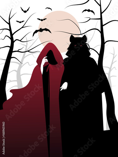 Little red riding hood and wolf in the woods. Fairytale Illustration - 168965960