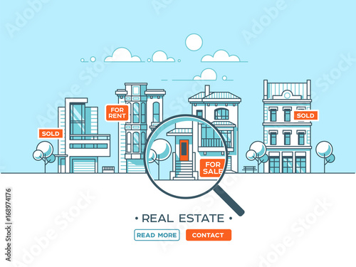 Staande foto Lichtblauw City landscape. Real estate and construction business concept with houses. Line style. Vector illustration.
