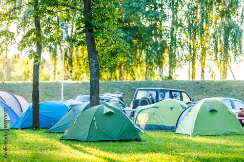 Tents Camping area in beautiful natural place