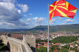 The Macedonian flag on the Samuel fortress Ohrid Macedonia - 168976319