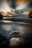 sunset sea sand landscape beach dusk seascape long exposure summer rocks
