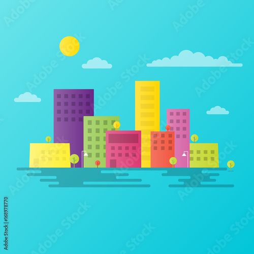 Papiers peints Turquoise colorful city landscape