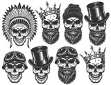 Fototapety Set of different skull characters with different hats and accessories. Monochrome style. Isolated on white background.