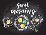 Breakfast set. Fried eggs in a frying pan, toasts with fried egg and asparagus. Food elements collection. Vector illustration. Menu, signboard template with modern brush calligraphy style lettering. - 168985352