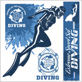 diving club illustration and labels set - 168991552