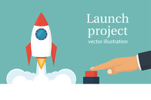 Startup Working Enterprise Launch Project Business Concept Businessman Hand Pushing Start Button  Illustration Cartoon Flat Design    Rocket Of Launch Metaphor Sticker