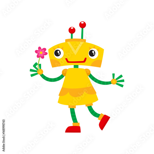 vector flat cartoon funny friendly robot. Small Humanoid girl character with legs arms, with locator on head holding flower smiling . Isolated illustration on awhite background.