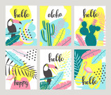Floral posters set in a tropical style with exotic leaves, toucan, pineapple, flamingos. Can be used for cards, posters, invitations, flyers. Vector illustration