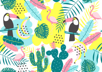 Tropical seamless pattern with toucan, flamingos, cactuses and exotic leaves. Vector illustration.