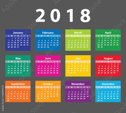 Color Calendar 2018 starting from Sunday. Vector illustration