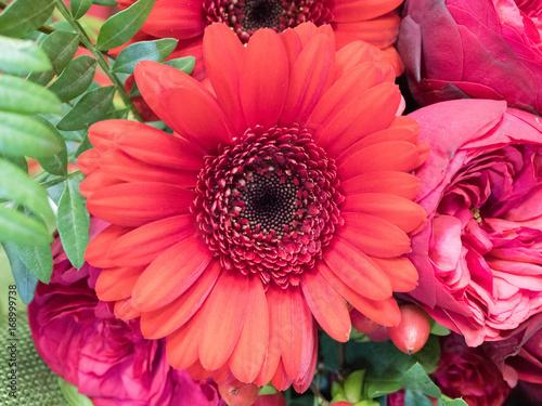 Fotobehang Gerbera a bouquet of red flowers for wedding