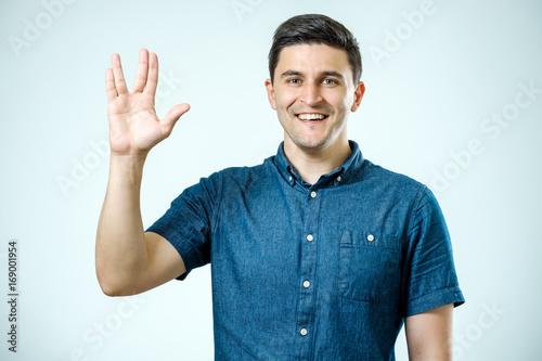 Vulcan Salute. Man welcomes fans Poster