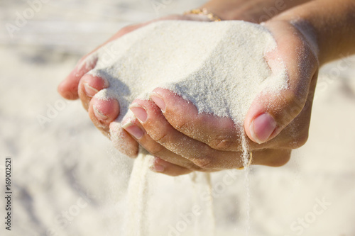 sand in both hands at the beach Poster