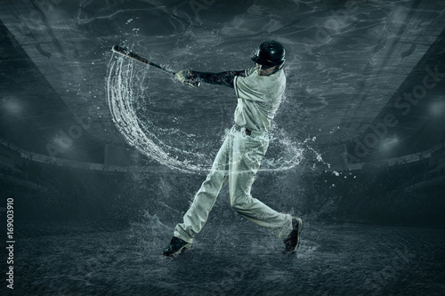 Baseball players in action under water