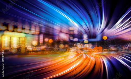 Abstract Motion light tails and City background - 169012583