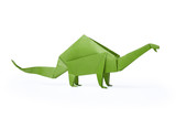 Isolated origami paper green dinosaur brontosaurus