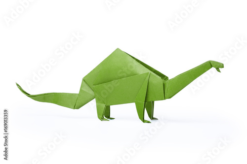 Isolated origami paper green dinosaur brontosaurus Poster