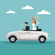 color sky landscape background with newly married couple driving in a car vector illustration