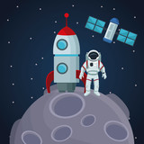 color space landscape background with astronaut over a planet in spaceship and satellite vector illustration - 169016917