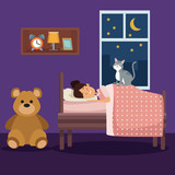 colorful scene girl sleep with blanket in bedroom vector illustration
