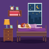 colorful scene girl sleep with mask and in bedroom vector illustration