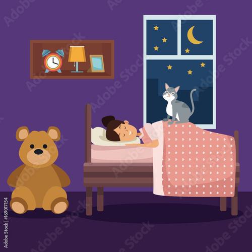 Foto op Canvas Violet colorful scene girl sleep with blanket in bedroom vector illustration