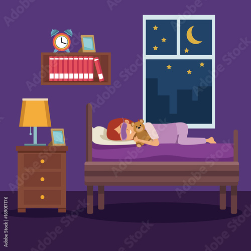 Poster Violet colorful scene girl sleep with mask and in bedroom vector illustration