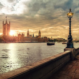 London sunset, Houses of Parliament, Big Ben and the River Thames - 169019133