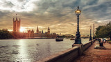 London sunset, Houses of Parliament, Big Ben and the River Thames - 169019160