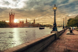London sunset, Houses of Parliament, Big Ben and the River Thames - 169019186