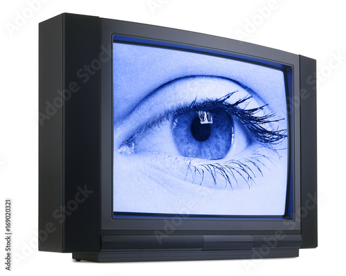 Old fashioned television with eyes