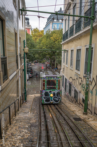 Typical Cable Car in the Streets of Lisbon