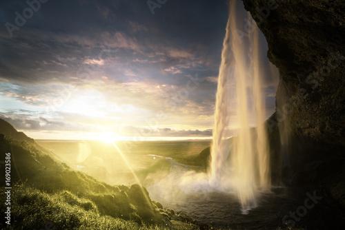 Seljalandsfoss waterfall at sunset, Iceland - 169023586