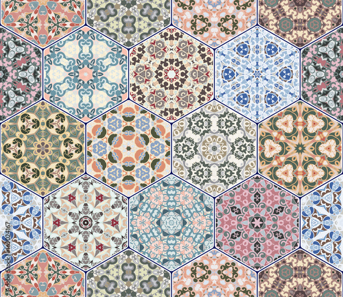 A rich set of hexagonal ceramic tiles. Eastern colored carpet. Colorful elements in oriental style. Vector illustration. - 169024167