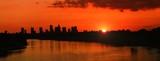 Panorama of Warsaw at sunset