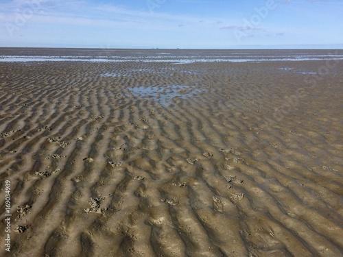 Aluminium Noordzee Meerseboden der Nordsee bei Ebbe / Watt bzw. Wattenmeer