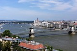 Budapest Cityscape showing Chain Bridge over the Danube and Parliament in background