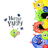 Hand drawn vertical frame with watercolor funny monster heads. Celebration illustration. Cartoon horror party. Funny beasts. Baby background. Can be use in holidays, birthday design, posters. - 169049520