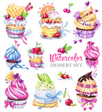 Watercolor tasty dessert set. Original hand drawn illustration. Colorful tasty picture. Lovely sweet collection for you create. - 169052121