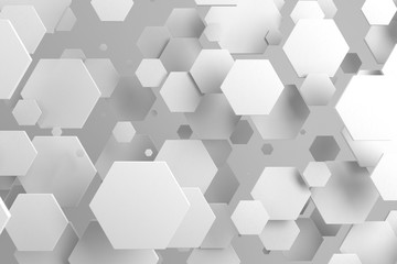 White hexagons of random size on white background © GooD_WiN