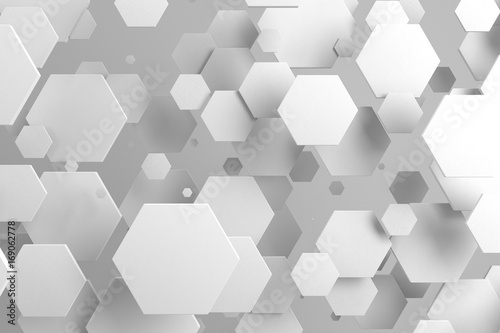 White hexagons of random size on white background